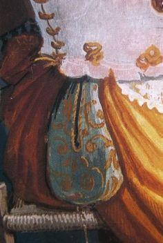 """A Renaissance Saccoccia - or pocket. """"Woman at her toilet"""", detail, ca. 1575-78, Alessandro Allori (Santa Maria Novella, Florence)"""