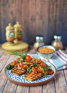 Sweet potato steaks with sauteed vegetables