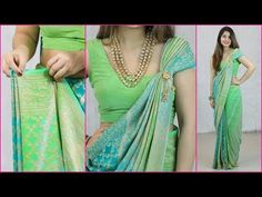A saree is a traditional Indian costume worn by every Indian women and girls during weddings, family function and school farewell. But sometimes we get confu. Neck Designs For Suits, Blouse Back Neck Designs, Saree Wearing Styles, Saree Styles, How To Wear A Sari, Sari Dress, Saree Blouse, Drape Sarees, Indian Costumes