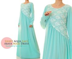Aqua Blue Floral Lace Modest Long Sleeves by Tailored2Modesty