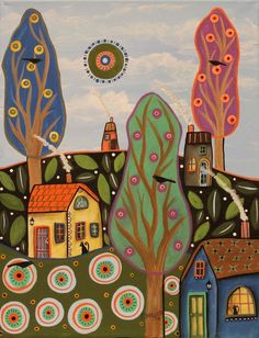 Tuesday 11x14 ORIGINAL CANVAS PAINTING cat houses FOLK ART PRIM Karla Gerard #FolkArtAbstractPrimitive