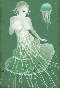 fish-girl-green-illustration-jelly-fish-lady-Favim.com-66511.jpg (437×639)