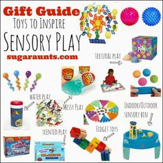 Gift ideas to inspire sensory play. Encourage textural learning and exploration through the senses with this holiday gift guide by Sugar Aunts.
