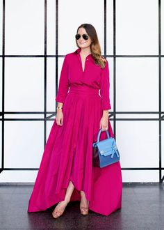 Escada pink gown and blue bag | LONG DRESSY GOWN | DRESSY OUTFIT INSPIRATION