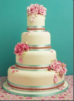 Pink, cream and blue cake. Velvety, flawlessly smooth.