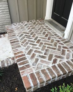 Brick Patio Steps Herringbone Pattern 49 Ideas For 2019 Patio Steps, Brick Steps, Brick Porch, Brick Walkway, Brick Patios, Brick Columns, Brick Edging, House With Porch, House Front