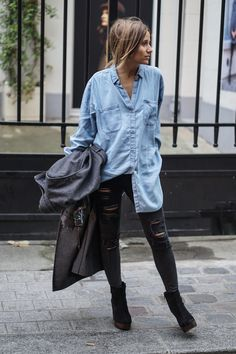 The classic oversized shirt and jeans look will never go out of style. Wear this trend with heeled boots and a mac to recreate Camille Callen's fall look. Coat: 3 Suisses, Shirt: Tommy Hilfiger, Jeans: Mango, Shoes: Topshop.