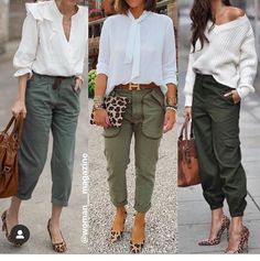 The Best Street Style Fashion Ideas for Women Of 2020 Green Khaki Pants, Khaki Pants Outfit, Summer Pants Outfits, Green Cargo Jacket, Khaki Cargo Pants, Casual Fall Outfits, Summer Outfits Women, Zara, Vogue