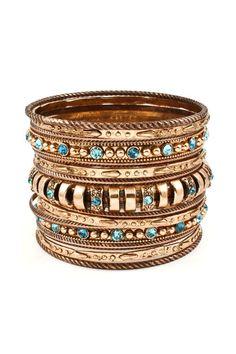 Christen Bracelet Set - 14 bracelets in antiqued bronze finish