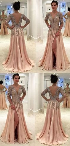 A-Line Deep V-Neck Floor-Length Light Champagne Chiffon Prom Dress with Appliques  Beading 860de9ab53ca