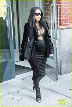 Pregnant Kim Kardashian Puts Her Bra on Display in Sexy Sheer Outfit! | kim kardashian kanye west step out together 13 - Photo