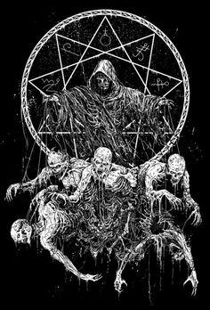 by  Mark Riddick | Rebel6 Dark Art Illustrations, Illustration Art, Rock Band Posters, Satanic Art, Evil Art, Skeleton Art, Dark Art Drawings, Occult Art, Metal Artwork
