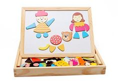 Newcreativetop Learning  Education Magnetic Puzzle Wooden Multifunction Writing Drawing Toys Board for Kids Imagination *** More info could be found at the image url.Note:It is affiliate link to Amazon.