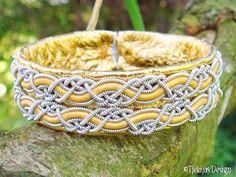 MUNINN Swedish Sami Bracelet - Norse Mythology Viking Bracelet Cuff in Gold Reindeer Leather with Pewter Braids - Handmade Natural Elegance.