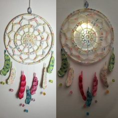 Crochet Dreamcatcher - pattern for feathers from poppyandbliss.com Crochet Dreamcatcher Pattern, Feathers, Dream Catcher, Decorative Plates, Home Decor, Threading, Dreamcatchers, Decoration Home, Room Decor