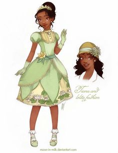 Tiana and her classic-lolita dress with water lily. (*^‿^*) Tiana and lolita fashion Disney Princess Drawings, Disney Princess Art, Disney Nerd, Disney Fan Art, Cute Disney, Disney Drawings, Disney Girls, Disney Style, Disney Artwork