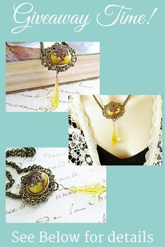 Win this gorgeous fairy necklace in my FREE giveaway! Stunning Swarovski yellow Citrine crystals and a yellow cats eye combined with filigree components and a magical fairy! Who could want more? Click on the link in my profile and enter the giveaway now!