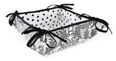 Reversible Oilcloth Bread Basket in Black and White Toile, and Black on White Polka Dot Oilcloth. Made in U.S.A. by Oilcloth Alley   oilclothalley.com