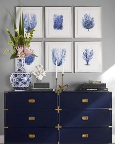 Spring is all about coral prints, tropical florals and a crisp navy and a white color palette! Shop all of our… Home Decor Bedroom, Living Room Decor, Navy Home Decor, Bedroom Ideas, Campaign Dresser, Flur Design, Buffet Cabinet, Blue Rooms, Deco Design