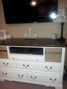 DIY...my new  entertainment center for my bedroom! Bought the dresser from Craigslist and refinished. Left a few of the drawers out and covered boxes with burlap! I'm in LOVE!