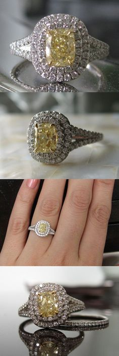 Wintotty's new right hand ring features a .79 carat cushion cut fancy yellow diamond. Inspired by the Tiffany Soleste/Sola ring, the yellow diamond is surrounded by a double halo, which crowns a pave split shank. The handmade ring is set with 80 colorless diamonds totaling .61 carats.    A graceful split shank looks lovely on the hand.    Fancy Yellow diamond and custom pave diamond setting by Diamonds by Lauren