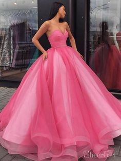 Glamorous Pink Ball Gown Quinceanera Dresses Sweetheart Satin Tulle Floor Length Adult Ceremony Dress · YooYooDress · Online Store Powered by Storenvy Cheap Quinceanera Dresses, Cheap Prom Dresses, Sexy Dresses, Hot Pink Dresses, Summer Dresses, Ball Gowns Prom, Ball Dresses, Pink Ball Gowns, Evening Dresses