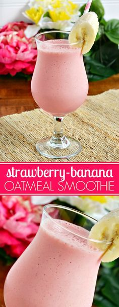Strawberry Banana Oatmeal Smoothie Recipe