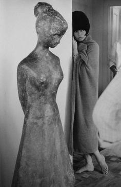 Tazio Secchiaroli - The Sculpture and B.B. on the set of Le Mepris