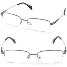 Half Rimless Light Men Women Rectangular Frame Memory Titanium Bendable Arm Gray #Unbranded