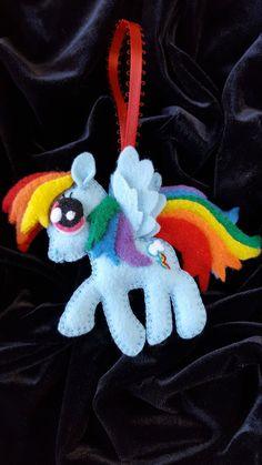 Felt Rainbow Dash ornament-My Pretty Pony by DebsArtsyEnchantment