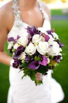 White Rose And Purple Calla Lilies Wedding Flower Bouquet Bridal Flowers Add Pic Source On Comment We Will Update It Can Create This