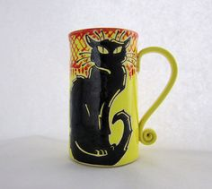 Hey, I found this really awesome Etsy listing at https://www.etsy.com/listing/203174275/chat-noir-mug-pottery-mug-valentines