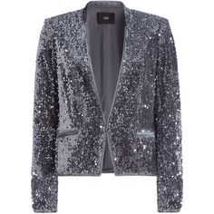 Steffen Schraut Tokyo Glam Blazer found on Polyvore featuring outerwear, jackets, blazers, blazer, coats, coats & jackets, silver, slim fit jackets, lapel jacket and gray blazer