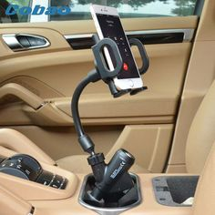 Cobao Universal Dual USB Car Charger Mount Cell Mobile Phone Holder Bracket Stands for iPhone 5 6 Plus Galaxy Note 2 3 S4 S5 GPS