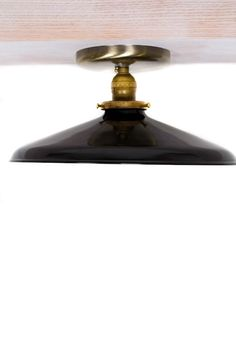 "Industrial Gloss Black 12"" Porcelain Enamel Shade Edison Flush Mount Light. $95.00, via Etsy."