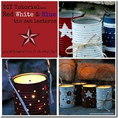 DIY Patriotic Tin Can Lanterns