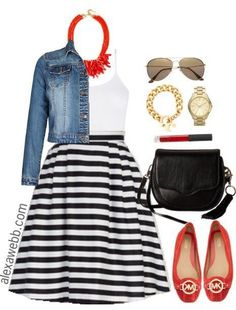 Plus Size Striped Skirt Outfit - Mode Frauen Striped Skirt Outfit, Stripe Skirt, Red Skirt Outfits, Curvy Fashion, Look Fashion, Plus Fashion, Womens Fashion, Cheap Fashion, Fashion Stores