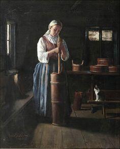 Anna Sahlsten (1859-1931) TALONPOIKAISTYTTÖ JA KISSA / Peasant girl and cat - Finland