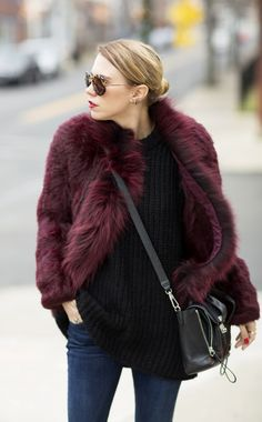 Elizabeth and James burgundy fur jacket