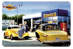 Sunoco Gas Service Station, Classic Cars, by Jack Schmitt, Metal Sign, Nostalgic Gas Oil Garage Art, FREE Shipping JS-12 by HomeDecorGarageArt on Etsy