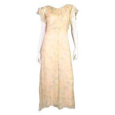 1930's Floral Printed Chiffon Dress