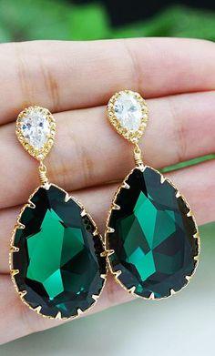 Emerald Swarovski Crystal Earrings from EarringsNation Emerald Weddings