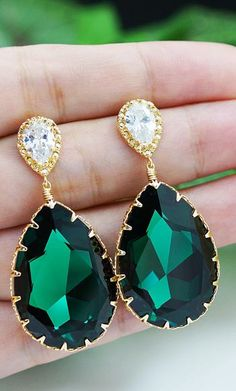 Emerald Swarovski Crystal Earrings