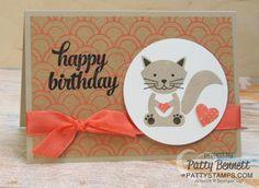 amis Foxy Stamp Set carte d'anniversaire comportant l'image de chat kitty and Shine Sur le papier de Stampin 'Up !.  par Patty Bennett au www.PattyStamps.com