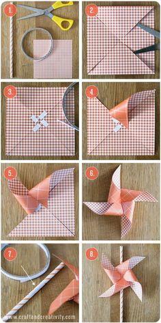 декоративный ветрячок из бумаги. Windmühlen aus Papier