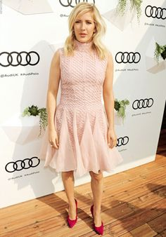 Ellie Goulding dons flirty pink mesh dress with a ruffled skirt at Audi Polo Challenge Ellie Goulding, Female Stars, Hollywood Celebrities, Mesh Dress, Woman Crush, Beautiful Actresses, Bright Pink, Audi, Celebrity Style