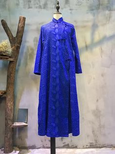 Stand Collar Jacquard Weave Loose Chinese Dress Pankou Vintage Cheongsam  #dress #jacquard #Chinese #plussize #vintage #retro #cheongsam #pankou #button