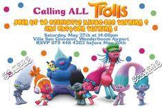 Trolls Birthday Invitations: Trolls Birthday Invitation Troll, Birthday Invitations, Smurfs, Fictional Characters, Design, Fantasy Characters, Anniversary Party Invitations