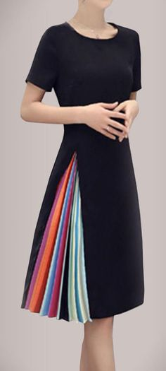 Rainbow color block dress by TBDress