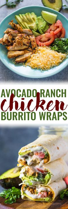 Avocado Ranch Chicken Burrito Wraps Chicken, avocado, tomato, and cheese topped with a cilantro yogurt ranch sauce and wrapped in flour tortillas. These easy no fuss wraps are lean and make a great healthy high protein lunch.It's no secret that Avocado Recipes, Lunch Recipes, Healthy Dinner Recipes, Mexican Food Recipes, Healthy Snacks, Healthy Eating, Cooking Recipes, Avacado Meals, Heathy Lunch Ideas